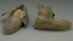 Blackfoot moccasins with beaded soles.