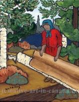 Kokum Peeling Birchbark - a painting by the Ojibwa artist Nokomis.