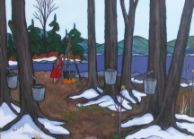Nokomis painting - harvesting maple sap.