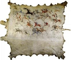 Sioux painted bufalo hide.