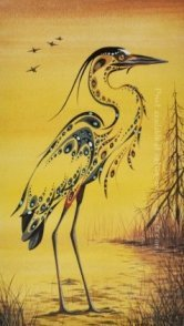 Ray Baptiste painting called Blue Heron