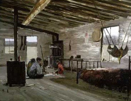 A painting by Allen Sapp of the interior of the home showing his family sharing a meal on the floor.