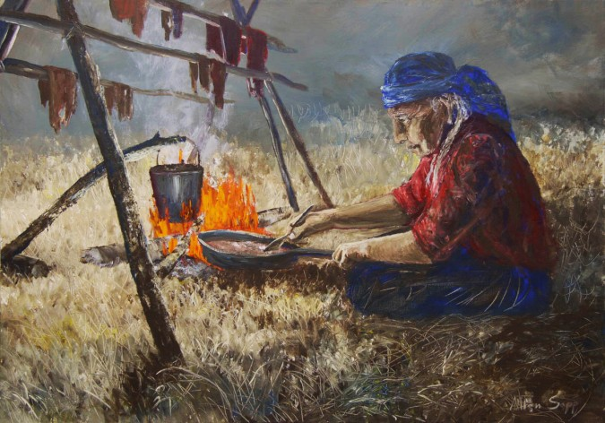 An Allen Sapp painting of his Kokum drying meat and cooking chokecherries over an open fire.