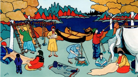 A Painting by Ojibwa artist Nokomis of a hunting camp where people are drying meat, and tanning hides.