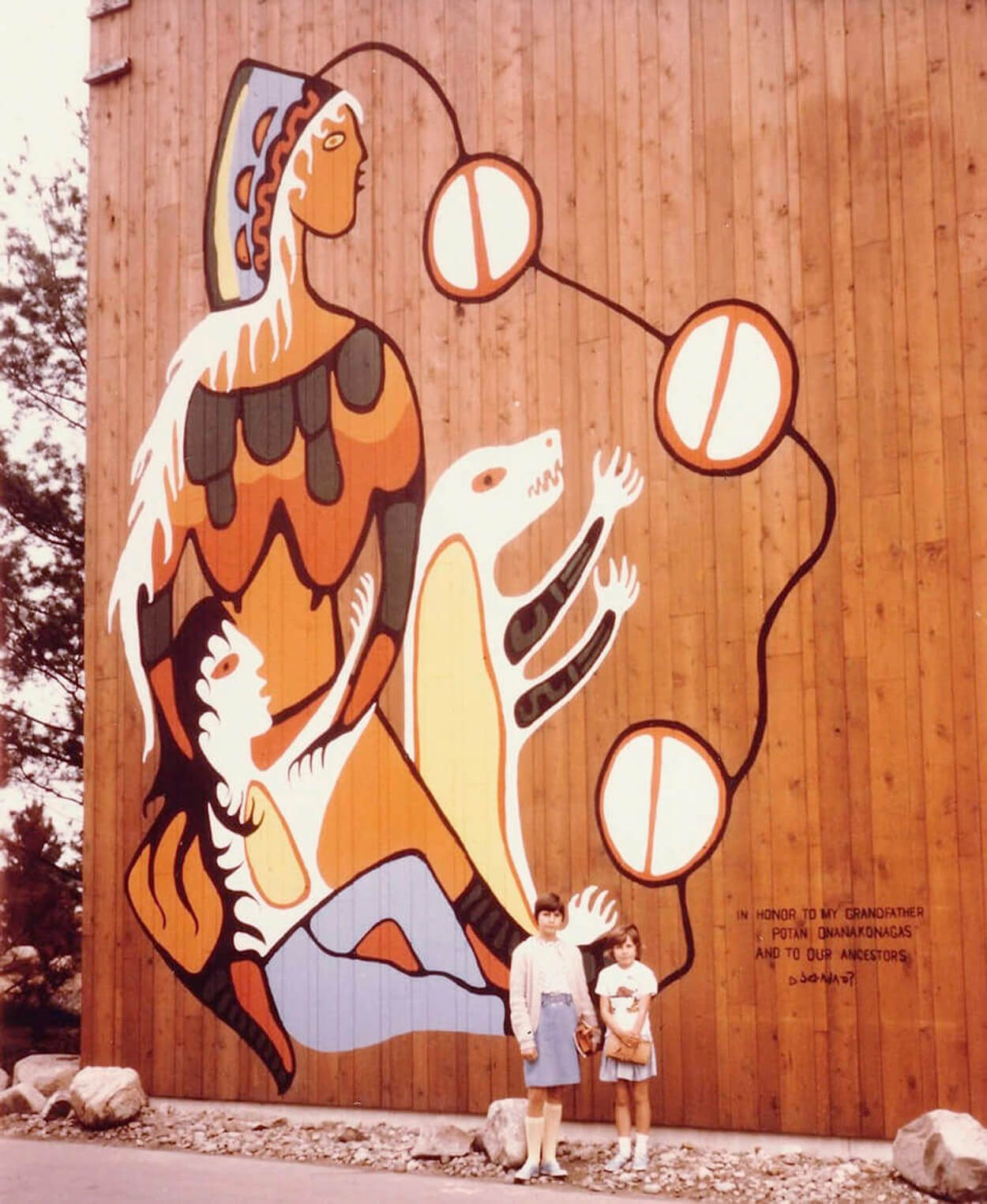 Carl Ray helped Norval Morrisseau paint this Expo 67 mural.