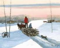 Image by Allen Sapp of a man hauling wood by horse and sled.