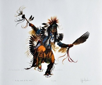 Cyril Assiniboine painting of a pow wow dancer called