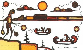 A painting by Goyce Kakegamic showing stylized images that represent The legend of The Sleeping Giant