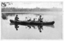 Black and white photo of birchbark canoe first published Scribner magazine 1895.