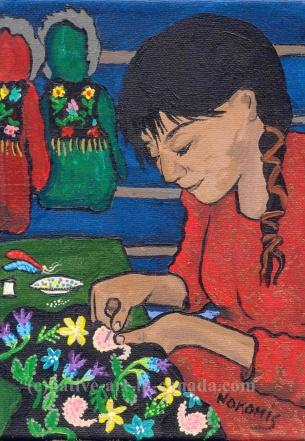 A Nokomis painting showing a woman beading the yolk of what will become a jacket.