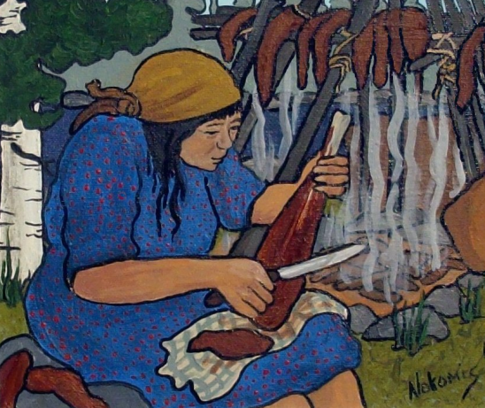 A Nokomis painting of a woman slicing strips of meat from a leg bone in preparation for drying it over a smoking fire.