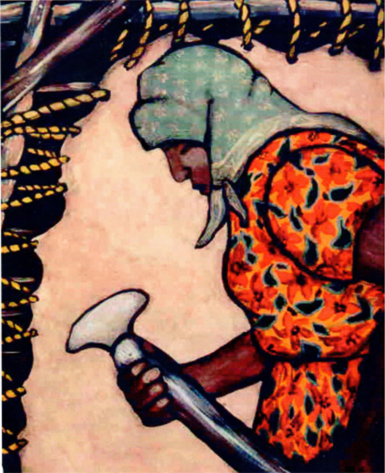 A painting by Nokomis showing her grandmother scraping a hide.