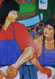 A Painting of Nokomis and her mother making bannock.