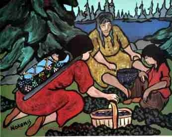 Nokomis painting of three Ojibwa women picking blueberries in August.