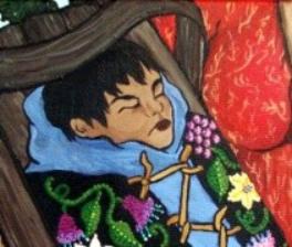 A baby in a traditional Ojibwa tikinogan.