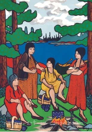 A painting by the ojibwa artist Nokomis showing women talking about pregnancy, babies and birth.