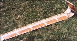 A photo of a toboggan made in the old Ojibwa style.