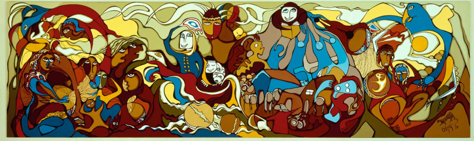 Painting by Daphne Odjig   showing many women and their families.
