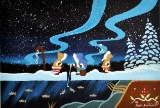 Ojibwa artist Gayle Sinclair's painting of stylized First Nations children ice fishing.