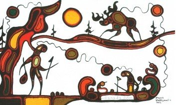 Painting by Goyce Kakegamic  called Legend of Red Lake