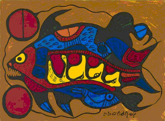 painting of fish by Norval Morrisseau