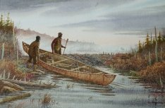 A birchbark canoe being launched by two men near a beaver dam.