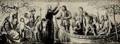 An historic image of the Jesuit missionary Jacques Marquette preaching to Europeans and First Nations people.