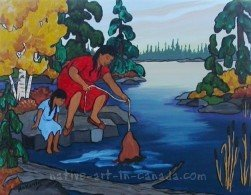 A painting by the Ojibwa artist, Nokomis, showing her mother soaking deer hides in the lake.
